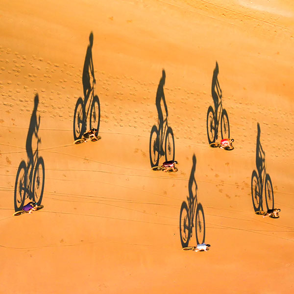 Aerial drone pic of Fat Bike tours on Cable Beach.