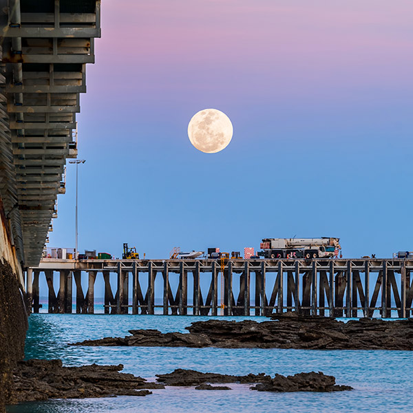 The spectacular Super Moon rising over the Port of Broome in Western Australia.