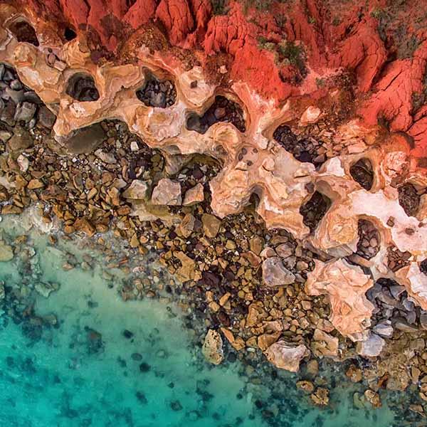 Beautiful colours of the coast around Broome in Western Australia