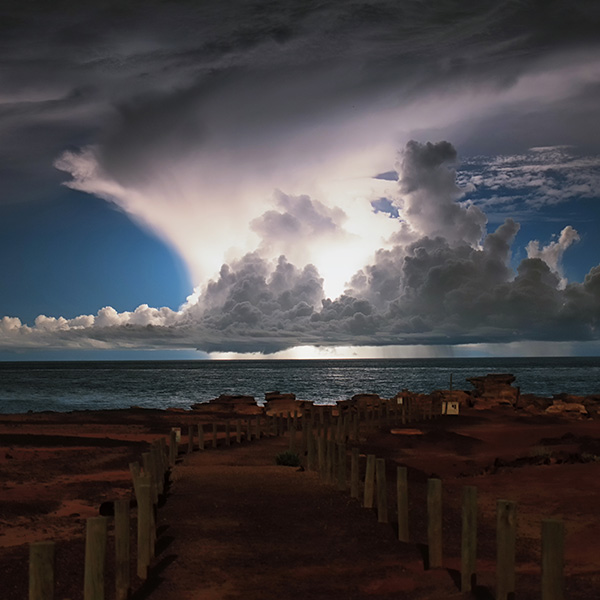 Storm off Cable Beach lit up by lightning