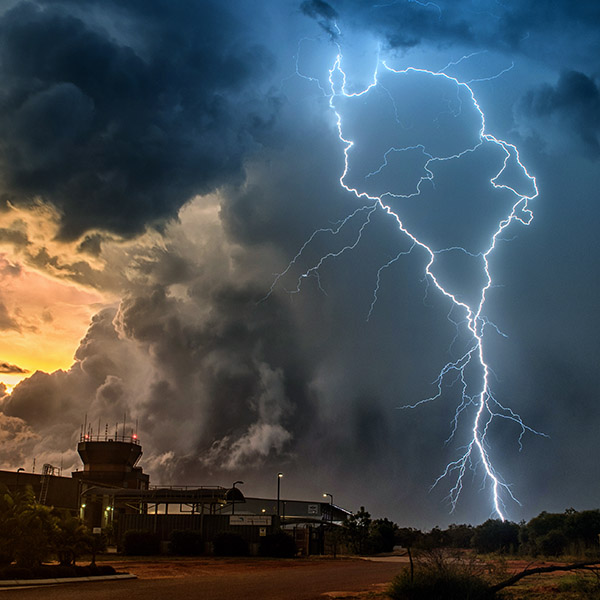 Broome international Airport lightning strike.