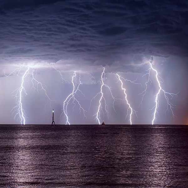 5 lighning images stacked together to show the amazing lightning rates over Roebuck Bay in Broome Western Australia.
